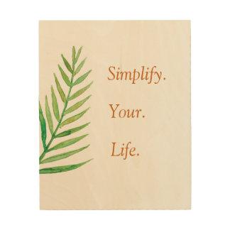 Tela De Madeira Simplifique suas citações inspiradas de três
