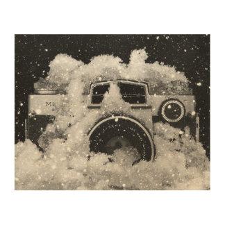 Tela De Madeira Tempestade da neve da câmera do vintage