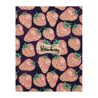 Tela De Madeira Teste padrão cor-de-rosa da morango no fundo roxo