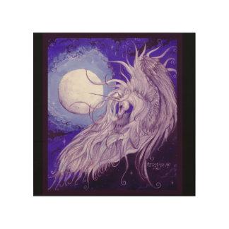 Tela De Madeira Unicórnio voado na frente da lua