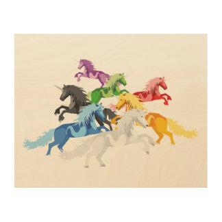 Tela De Madeira Unicórnios selvagens coloridos da ilustração