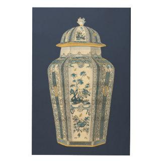 Tela De Madeira Urna asiática decorativa em azul & em branco