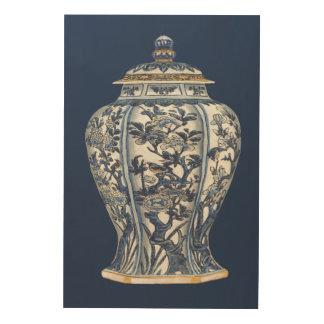 Tela De Madeira Vaso azul & branco da porcelana pelo estúdio da