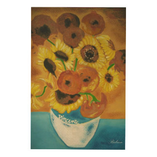 Tela De Madeira Vaso com girassóis Van Gogh