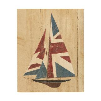 Tela De Madeira Veleiro britânico da bandeira