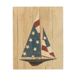 Tela De Madeira Veleiro com bandeira americana
