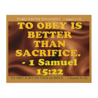 Tela De Madeira Verso da bíblia de 1 15:22 de Samuel.