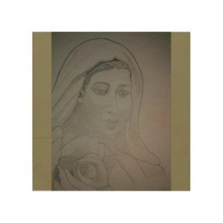 Tela De Madeira Virgem Maria