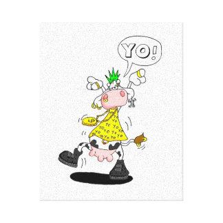 tela vaca punk impressão de canvas esticadas