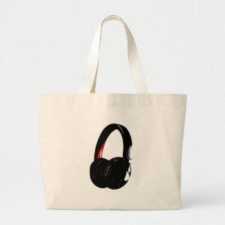 Telefone da cabeça do pop art do auscultadores bolsa tote grande