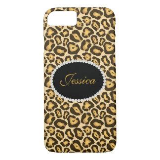 Telefone do monograma do impressão do leopardo & capa iPhone 7
