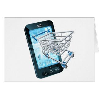Telefone móvel do carrinho de compras cartão