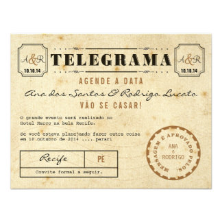 Telegrama do Vintage Agende a Data Convites