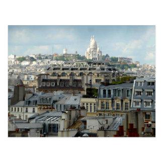 Telhados de Paris e cartão de Sacre Coeur
