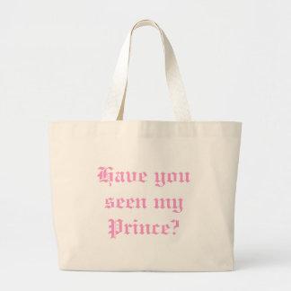 Tem você visto meu príncipe saco sacola tote jumbo