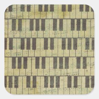 Tema chave da música da nota da música do piano adesivo quadrado