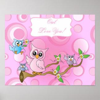 Tema cor-de-rosa do berçário da coruja | do bebê pôster