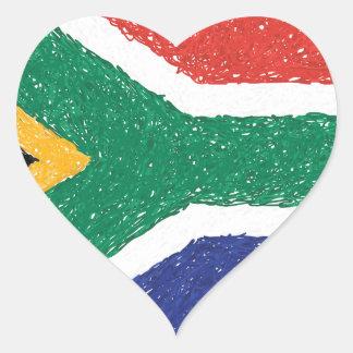Tema da bandeira de África do Sul Adesivo Coração