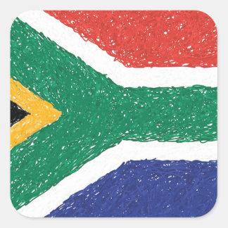 Tema da bandeira de África do Sul Adesivo Quadrado