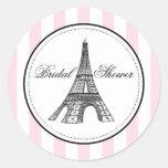 Tema da etiqueta   Paris France do favor do chá de Adesivo Redondo