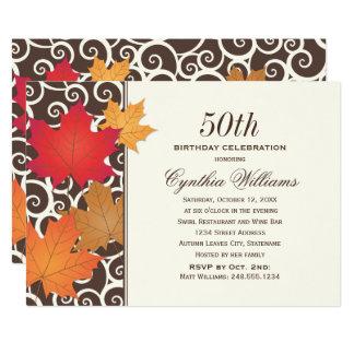 Tema da queda do outono do convite de aniversário