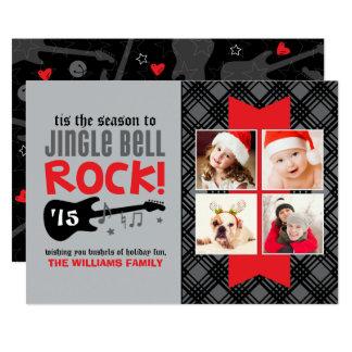 Tema da rocha do cartão com fotos | Jingle Bell do Convite 12.7 X 17.78cm