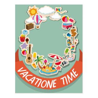 Tema das férias com objetos da praia cartão postal