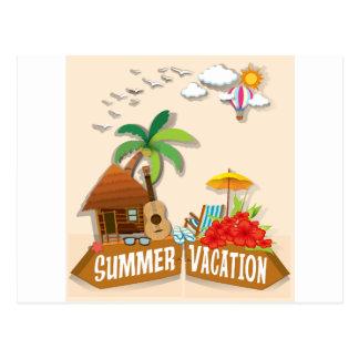 Tema das férias de verão com bungalow cartão postal