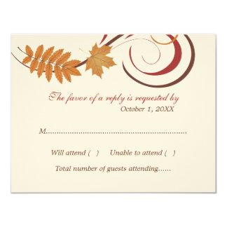 Tema de queda das folhas do cartão | da resposta convite 10.79 x 13.97cm