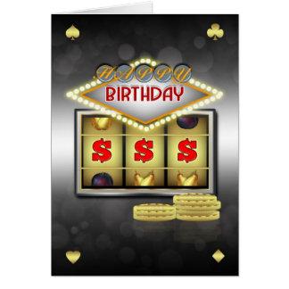 Tema do casino do cartão do aniversário com