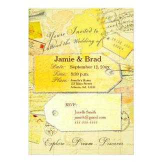 Tema do convite do casamento do destino no amarelo