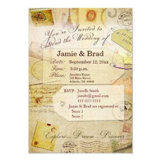 Tema do convite do casamento do destino no creme convite 12.7 x 17.78cm