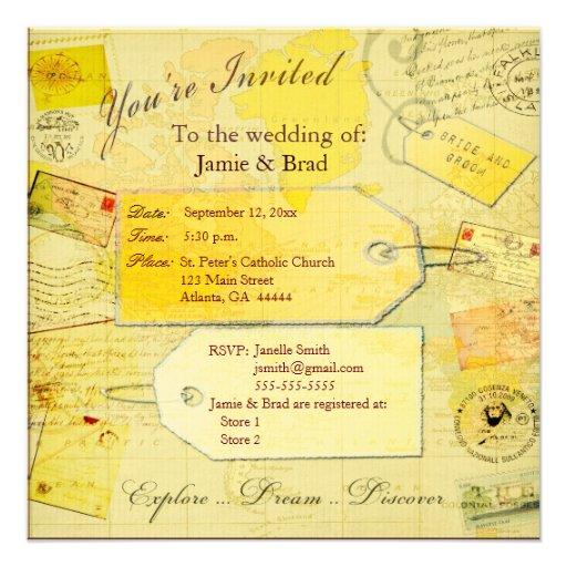 Tema do viagem do destino do casamento convites