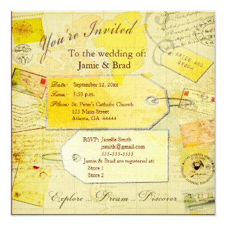 Tema do viagem do destino do casamento convite quadrado 13.35 x 13.35cm