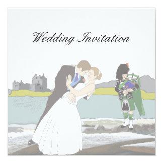 Tema escocês e celta tradicional do casamento convite quadrado 13.35 x 13.35cm