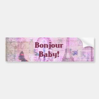 Tema francês de Paris da frase do bebê de Bonjour Adesivo Para Carro