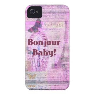 Tema francês de Paris da frase do bebê de Bonjour Capinha iPhone 4