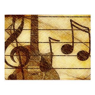 Tema musical com guitarra cartão postal