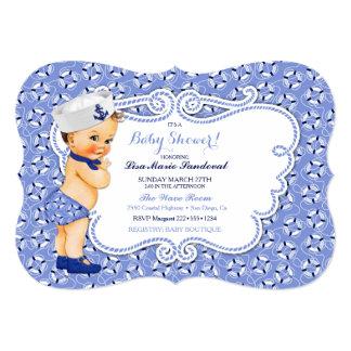 Tema náutico do marinheiro do bebé do vintage convite 12.7 x 17.78cm