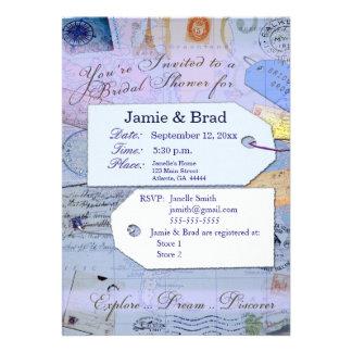 Tema nupcial do chá do viagem na luz - azul convites personalizado