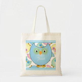 Tema Pastel do berçário da coruja do bebê no azul Sacola Tote Budget
