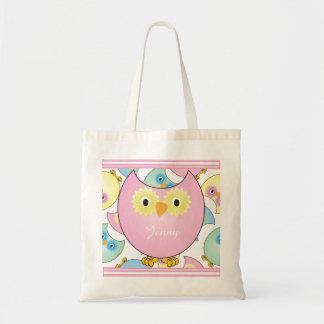 Tema Pastel do berçário da coruja do bebê no rosa Sacola Tote Budget