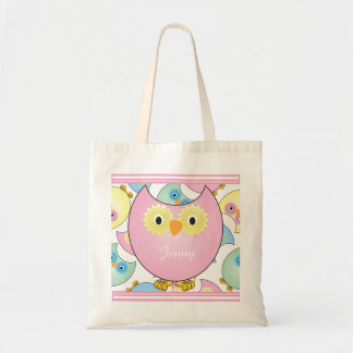 Tema Pastel do berçário da coruja no rosa Sacola Tote Budget