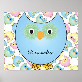Tema Pastel do berçário da coruja para o bebê no Poster