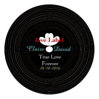 Tema retro preto e branco da música do registro de convite quadrado 13.35 x 13.35cm
