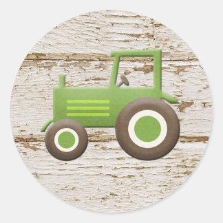Tema verde da fazenda do trator da etiqueta