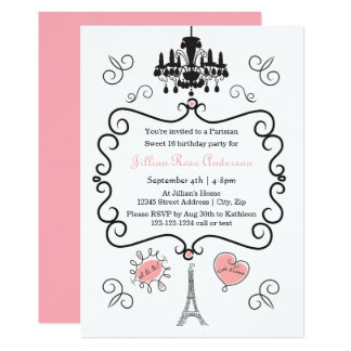 Temático parisiense - convite de aniversário