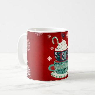 Tempera a caneca do feriado do Feliz Natal dos
