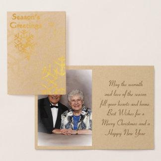 Cartão Metalizado Tempere de '' o cartão de Natal da folha de ouro