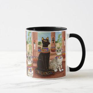 Templo da caneca da arte do gato da deusa da fibra